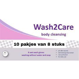 Wash2Care washandjes ongeparfumeerd   10 pakken van 8 stuks