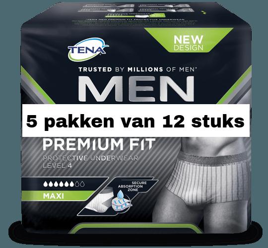 TENA Men Premium Fit Protective Underwear Level 4 Medium | 5 pakken van 12 stuks