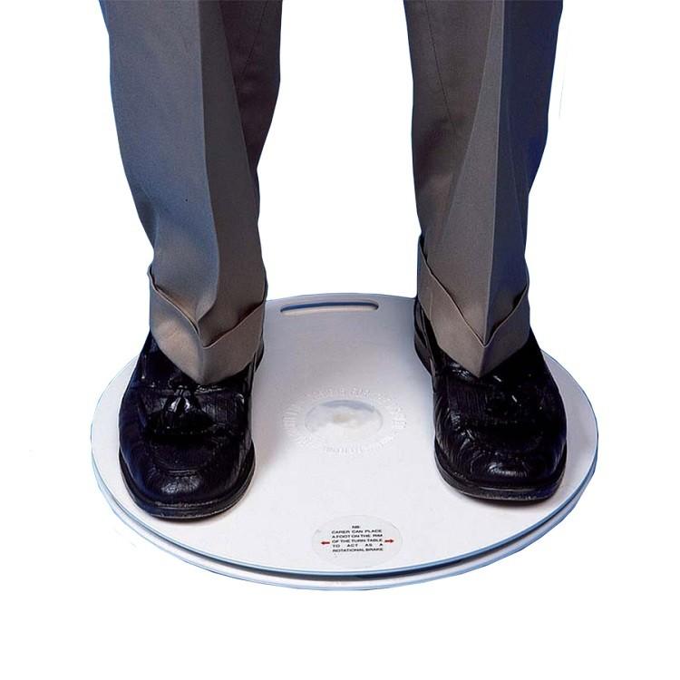 De Draaischijf is een hulpmiddel waarop mensen met gewrichts- en bewegingsproblemen kunnen gaan staan of zitten om zich zo soepel en pijnloos te verplaatsen